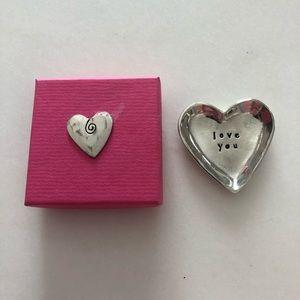"Small silver ""love you"" heart dish"